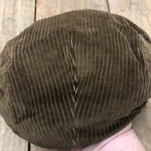 Vintage brown corduroy newsboy cap made in USA Sm